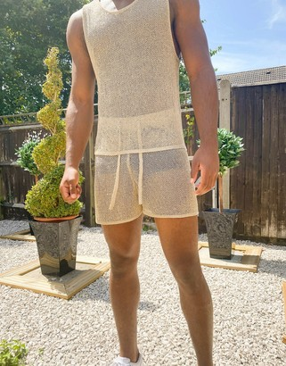 ASOS DESIGN knitted co-ord mesh shorts in gold