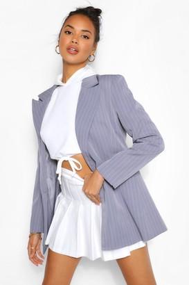 boohoo Tailored Pinstripe Contrast Button Blazer