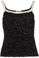 Gina Bacconi Sequin Cami With Contrast Bands, Black/Cream