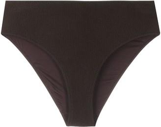 Ganni High-Rise Textured Bikini Bottoms