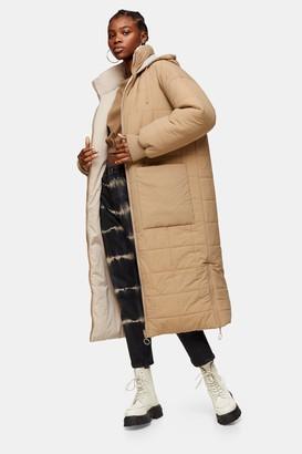 Topshop Womens Ecru Longline Padded Puffer Jacket - Ecru