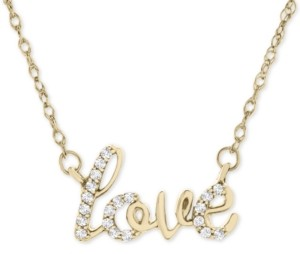 "Wrapped Diamond Scripted Love 17"" Pendant Necklace (1/10 ct. t.w.) in 14k Gold, Created for Macy's"