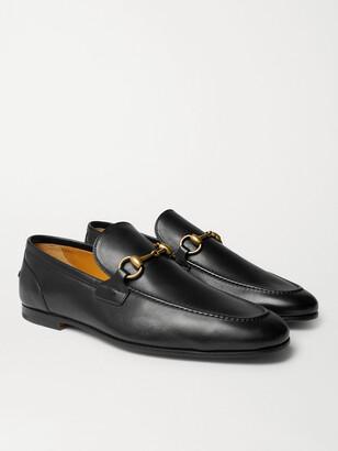 Gucci Jordaan Horsebit Burnished-Leather Loafers