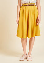 ModCloth Breathtaking Tiger Lilies Midi Skirt in Mustard in L