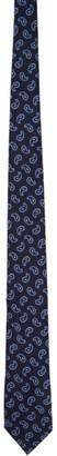 Ermenegildo Zegna Navy Silk Paisley Tie