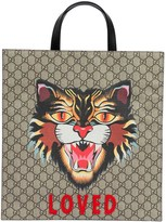 Gucci Angry Cat Gg Supreme Supple Leather Tote