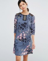 Little Mistress Floral Print And Lace Tunic Dress