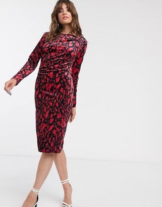 InWear Oma leopard print midi dress-Red