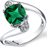 Ice 2 CT TW Lab-Created Emerald 14K White Gold Fashion Ring with Diamond Accents