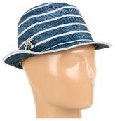 Juicy Couture Lurex Striped Fedora (Island Blue) - Hats