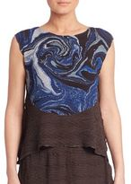 Issey Miyake Mars Pleats Printed Sleeveless Top