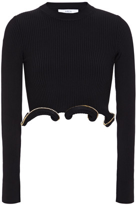 Area Cropped Crystal-embellished Ruffled Ribbed-knit Top