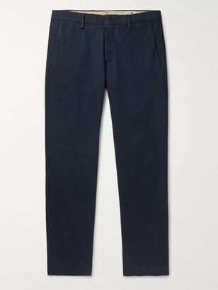 NN07 Dark-Grey Theo Tapered Cotton-Blend Trousers - Men - Blue
