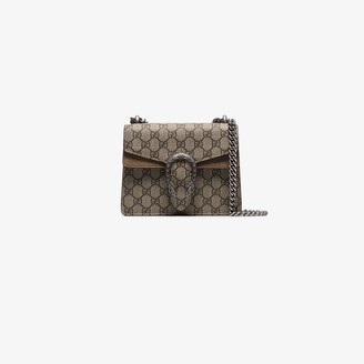Gucci beige and brown Dionysus GG Supreme mini canvas shoulder bag