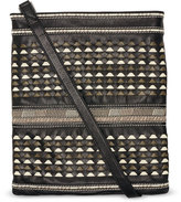 Toms Black Woven Leather Postscript Crossbody Bag