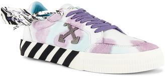 Off-White Tie Dye Low Vulcanized Sneaker in White & Lilac | FWRD