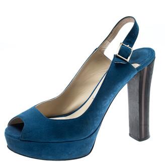Jimmy Choo Blue Suede Lexy Platform Slingback Sandals Size 37.5