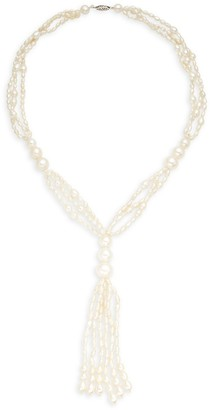 BELPEARL 14K White Gold, 2-3MM 9-11MM White Drop Semi-Round Pearl Tassel Necklace