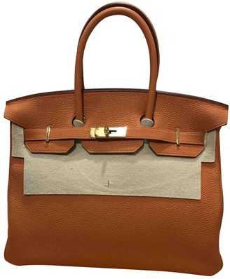 Hermes Birkin 35 Orange Leather Handbags