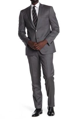 Calvin Klein Grey Plaid Wool Blend Two Button Notch Lapel Suit