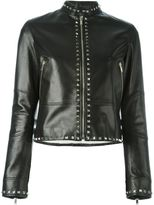 Valentino 'Rockstud' jacket - women - Silk/Cotton/Linen/Flax/Calf Leather - 36