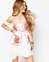 Glamorous Off Shoulder Dress with Embroidery