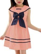 uxcell® Girls Navy Collar Bowknot Decor Flare Dress Allegra Kids