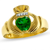 Zales Men's Lab-Created Emerald Claddagh Ring in 10K Gold with Diamond Accents