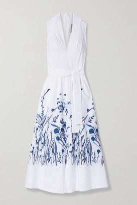 Lela Rose Belted Embroidered Cotton-poplin Midi Dress - White