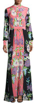 Diane von Furstenberg Floral-Print Slit-Front Silk Maxi Dress, Multicolor