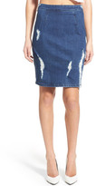 KENDALL + KYLIE Kendall & Kylie High Rise Destroyed Denim Pencil Skirt