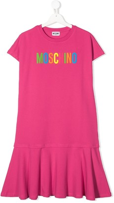 MOSCHINO BAMBINO TEEN logo print dress