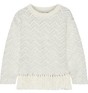 Joie Claudelle Fringed Cotton-blend Jacquard Sweater