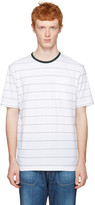 Ami Alexandre Mattiussi White and Green Striped T-shirt