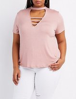 Charlotte Russe Plus Size Caged Mock Neck Boyfriend Tee