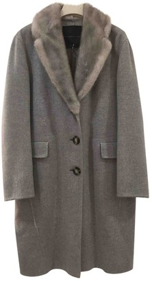 Ermanno Scervino Grey Cashmere Coat for Women