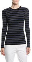 Michael Kors Long-Sleeve Crewneck Striped Rib-Knit Sweater