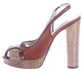 Dolce & Gabbana Snakeskin-Trimmed Slingback Pumps
