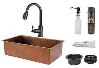 """Premier Copper Products Hammered 33"""" L x 19"""" W Undermount Kitchen Sink with Faucet Premier Copper Products Finish: Antique Copper"""