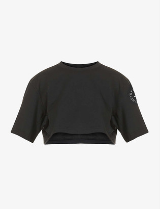 adidas by Stella McCartney Cropped cotton and recycled polyester-blend T-shirt