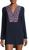 OndadeMar Embroidered Long-Sleeve Tunic Coverup
