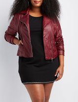 Charlotte Russe Plus Size Faux Leather Quilted-Trim Moto Jacket