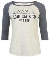 Soul Cal SoulCal Womens Raglan Baseball Tee Shirt Top Short Sleeve Crew Neck Summer