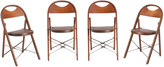 Rejuvenation Set of 4 Folding Wooden Chairs w/ Upholstered Seats