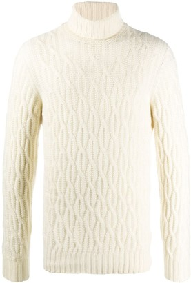 Drumohr Roll-Neck Cable-Knit Sweater