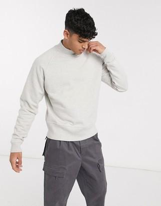 ASOS oversized sweatshirt in heavyweight white marl jersey with deep rib