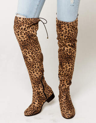 Soda Sunglasses Leopard Over The Knee Flat Womens Boots