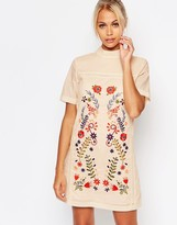 Fashion Union Shift Dress with Embroidery