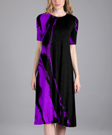 Aster Black & Purple Abstract Shift Dress - Plus Too
