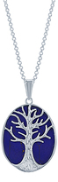 Simona Blue Lapis & Sterling Silver Tree of Life Pendant Necklace